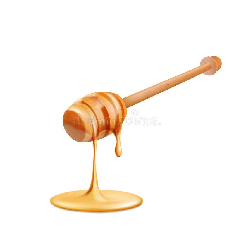 在白色背景的蜂蜜水滴 皇族释放例证