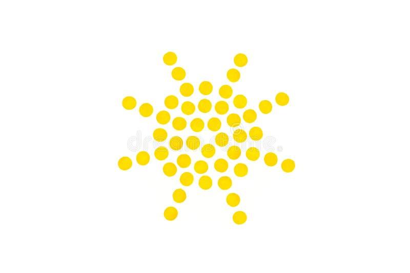 在白色背景的被加点的太阳标志与拷贝空间 免版税库存照片