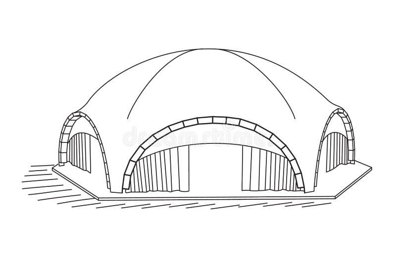 在白色背景的被成拱形的帐篷 库存例证