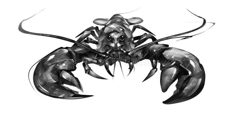 在白色背景的被绘的龙虾在前面 库存例证