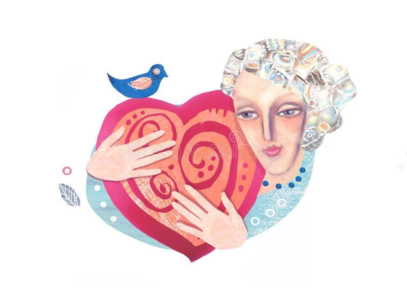 在白色背景的被隔绝的例证,显示拿着巨大心脏的一只妇女` s面孔和优美的手 华伦泰` s po 向量例证