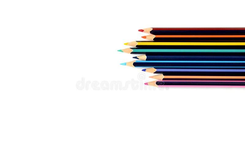 在白色背景的被隔绝的木颜色铅笔 铅笔 库存照片