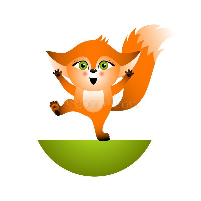 狐狸色中国片_在白色背景的被隔绝的红色动画片狐狸崽 橙色愉快的frendly狐狸 野生