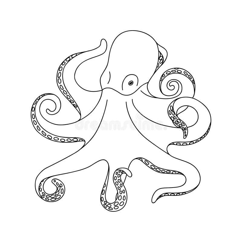 在白色背景的被隔绝的黑概述单色章鱼 曲线线 彩图页  向量例证