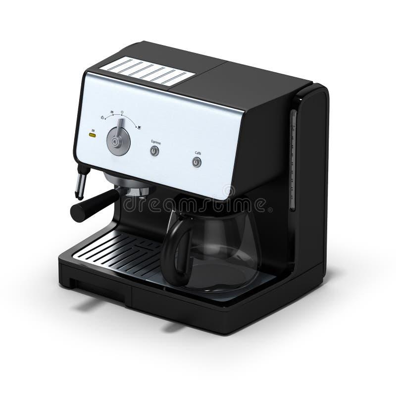 在白色背景的被隔绝的coffe制造商 3d例证 库存例证