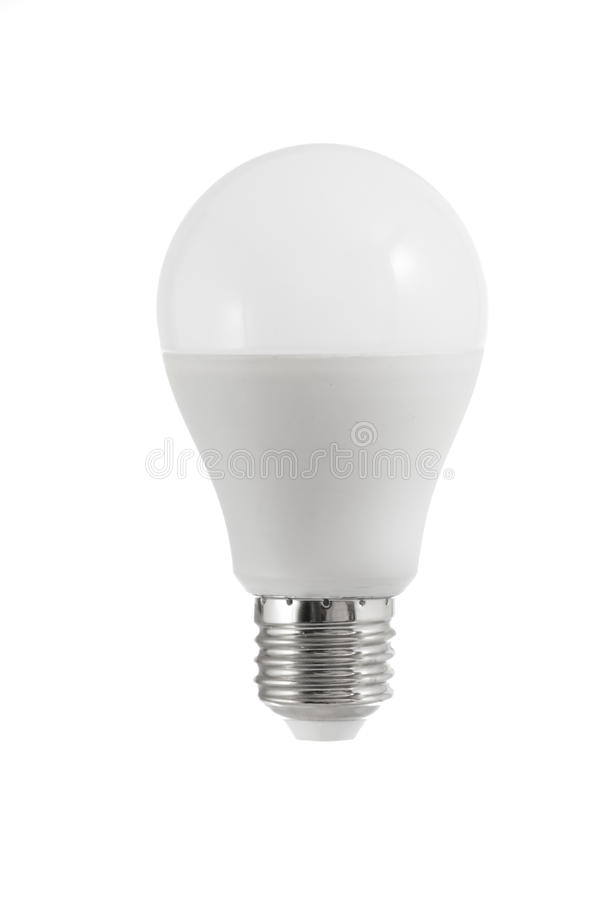 在白色背景的被隔绝的伙伴电灯泡 库存照片