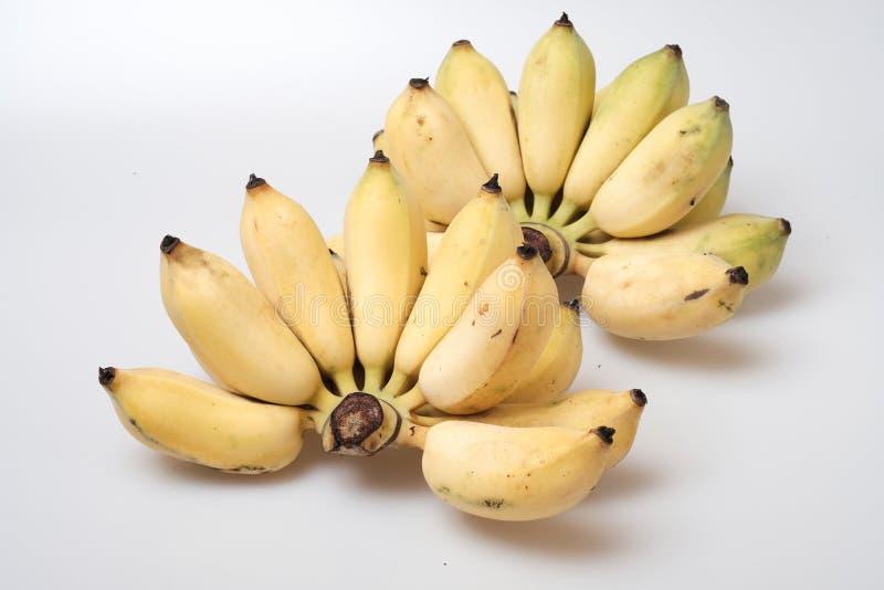 在白色背景的被隔绝的成熟耕种的香蕉 免版税库存照片
