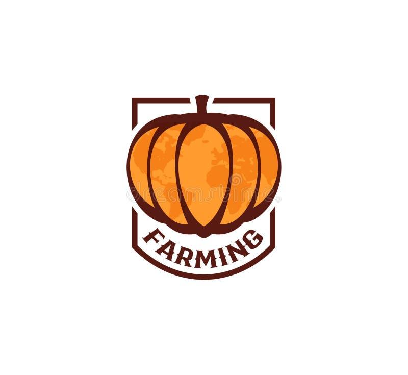 在白色背景的被隔绝的抽象橙色颜色圆形南瓜商标,种田略写法,秋天菜传染媒介 皇族释放例证
