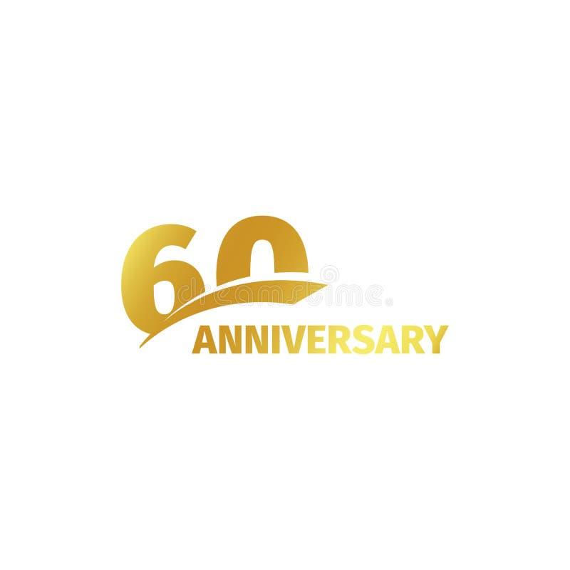 在白色背景的被隔绝的抽象金黄第60个周年商标 60个数字略写法 六十年周年纪念庆祝 图库摄影