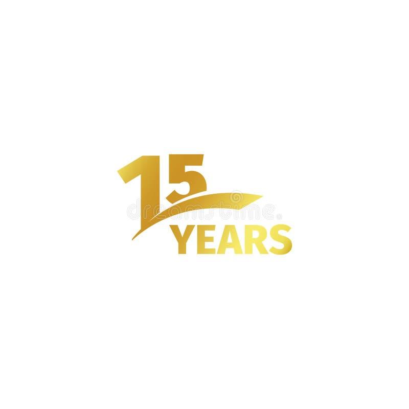 在白色背景的被隔绝的抽象金黄第15个周年商标 15个数字略写法 十五年周年纪念 皇族释放例证