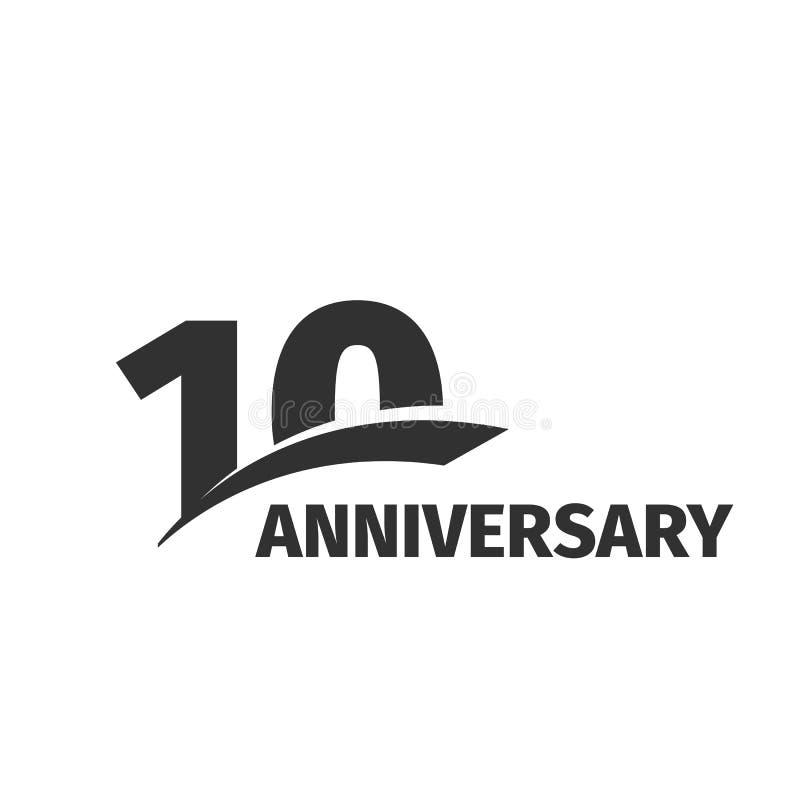 在白色背景的被隔绝的抽象黑色第10个周年商标 10个数字略写法 十年周年纪念庆祝 库存例证