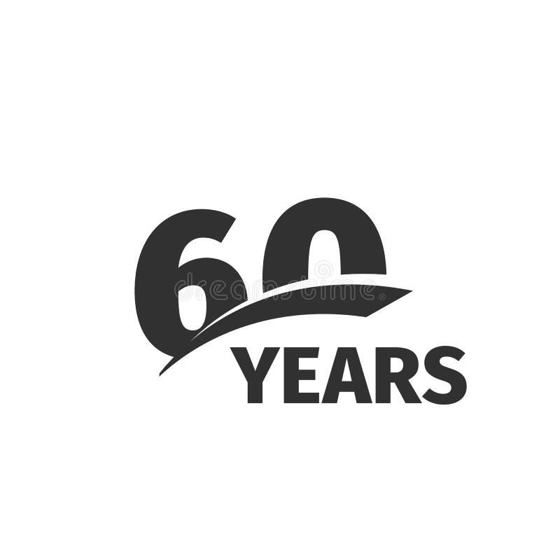在白色背景的被隔绝的抽象黑色第60周年商标 60个数字略写法 六十年周年纪念庆祝 向量例证
