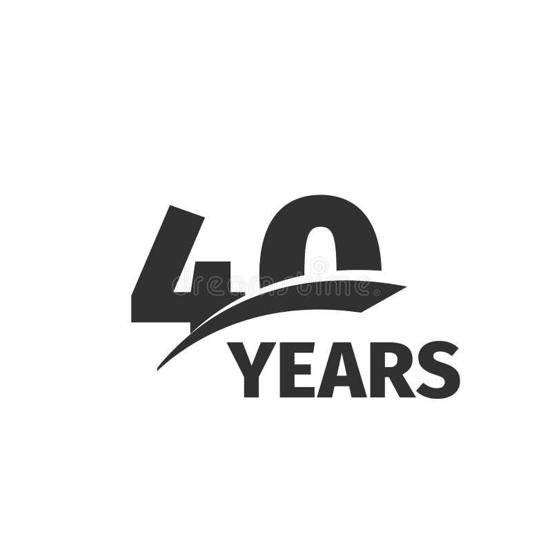 在白色背景的被隔绝的抽象黑色第40周年商标 40个数字略写法 四十年周年纪念庆祝 向量例证