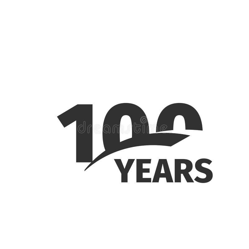 在白色背景的被隔绝的抽象黑色100th周年商标 100个数字略写法 一百年周年纪念 向量例证