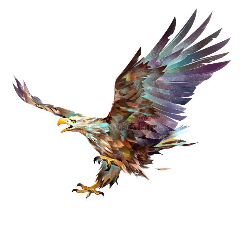 在白色背景的被绘的明亮的飞行老鹰 库存例证
