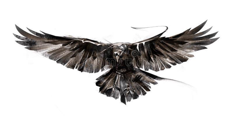 在白色背景的被绘的飞鸟 免版税库存照片