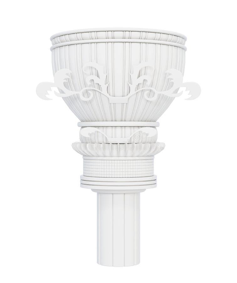 在白色背景的装饰大理石柱 3d回报 库存例证