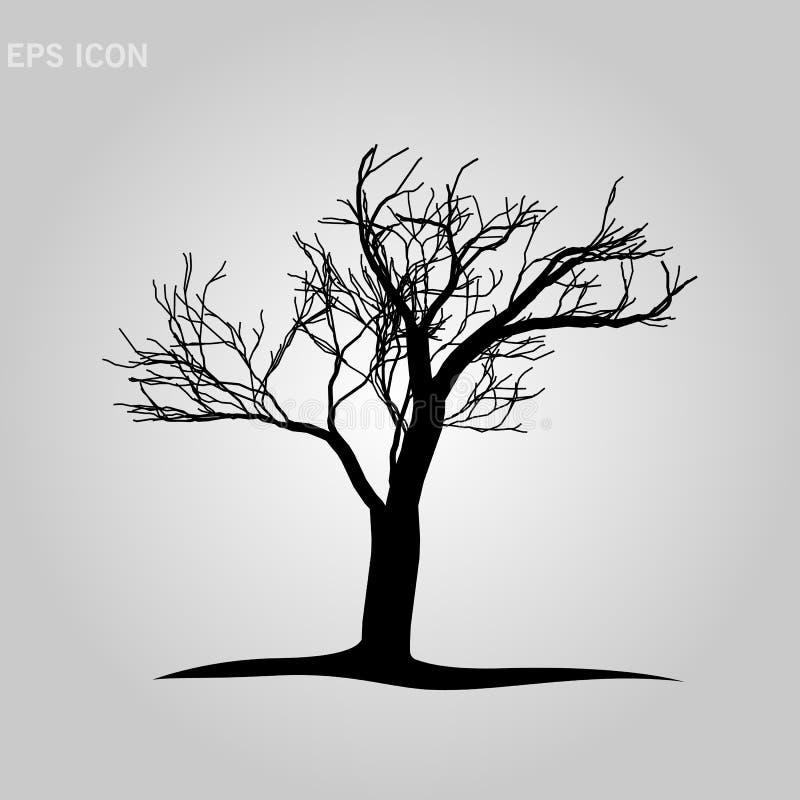 在白色背景的装饰树剪影 r 10 eps 皇族释放例证