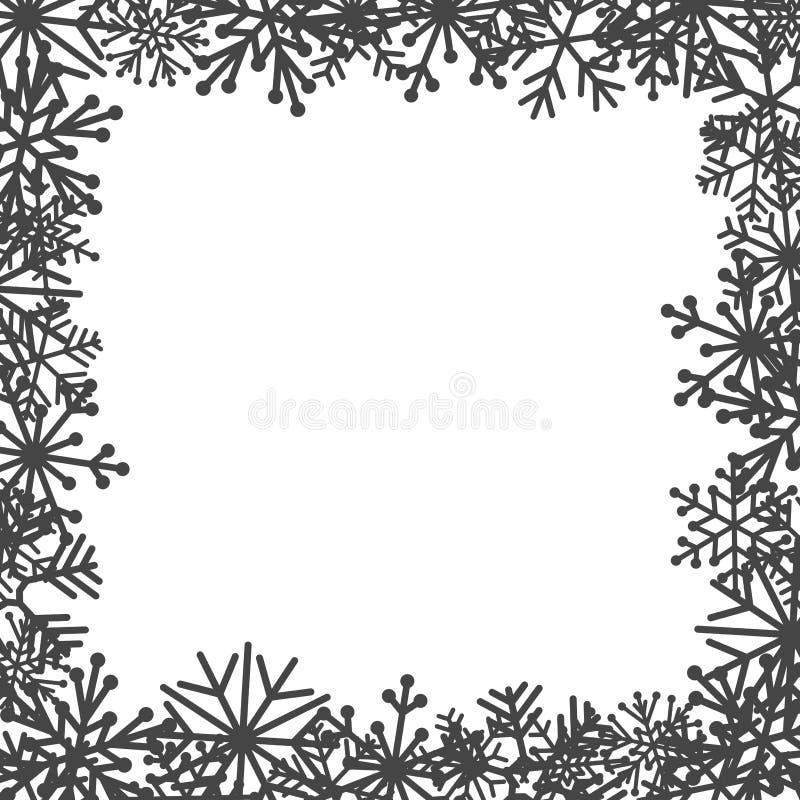 在白色背景的装饰雪花 库存例证
