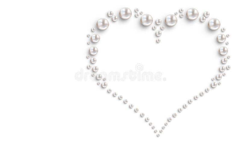 在白色背景的许多小和大白色珍珠 库存例证