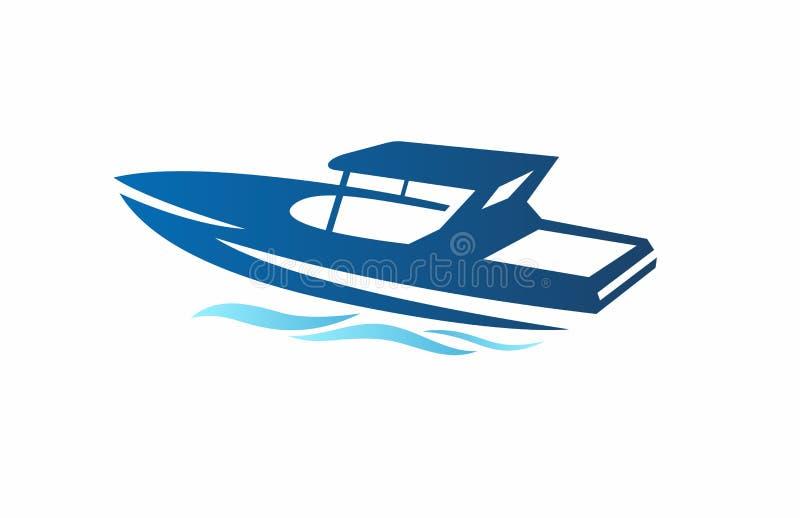 在白色背景的豪华速度小船海蓝色 库存例证