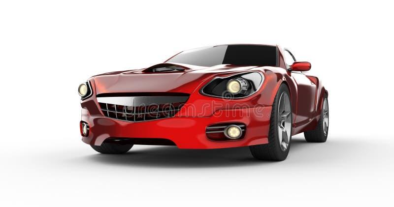 在白色背景的豪华brandless红色跑车 向量例证