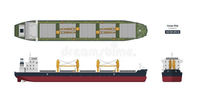 在白色背景的货船 上面,旁边和正面图 在平的样式的集装箱运输 画行业 皇族释放例证
