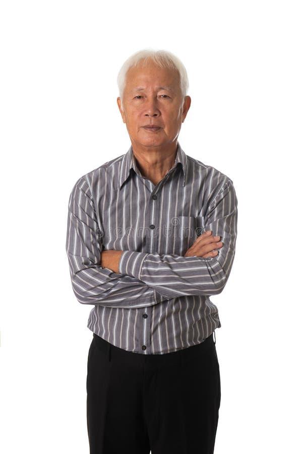 在白色背景的资深亚洲商人 库存图片