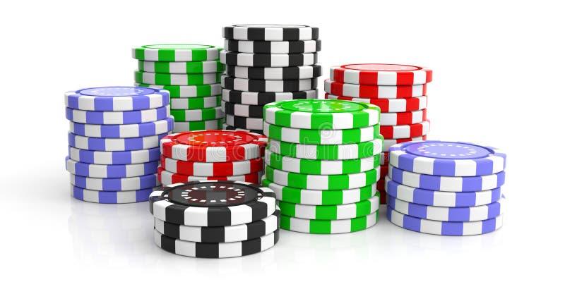 在白色背景的赌博娱乐场芯片 3d例证 皇族释放例证