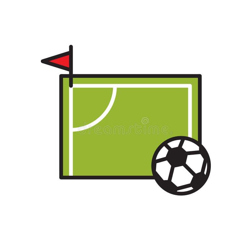 在白色背景的足球场象图表和网络设计的,现代简单的传染媒介标志 背景蓝色颜色概念互联网 时髦标志为 皇族释放例证