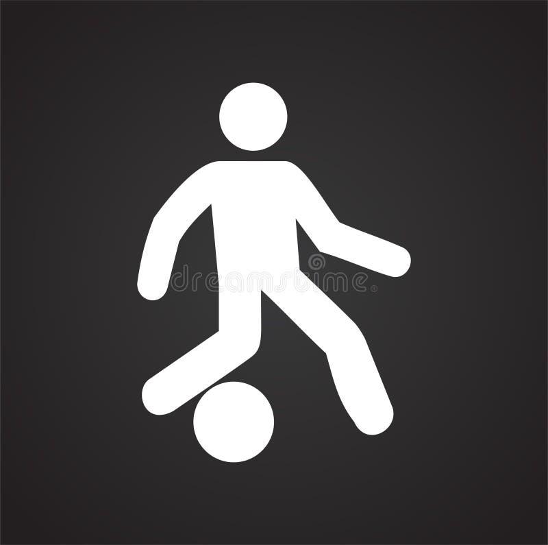 在白色背景的足球运动员象图表和网络设计的,现代简单的传染媒介标志 背景蓝色颜色概念互联网 时髦标志为 向量例证