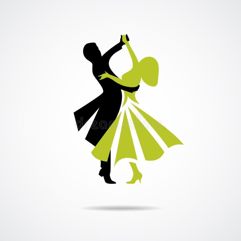在白色背景的跳舞夫妇 库存例证