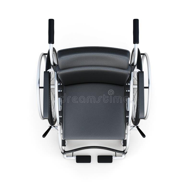 在白色背景的轮椅顶视图 3D renderi 库存例证