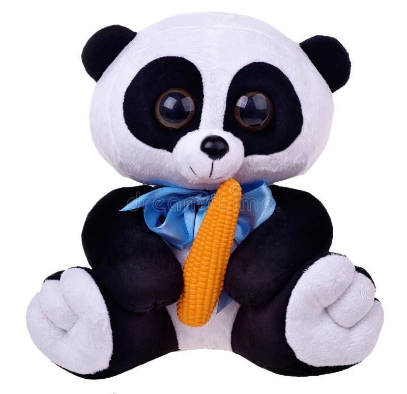 在白色背景的软的玩具熊猫 库存照片