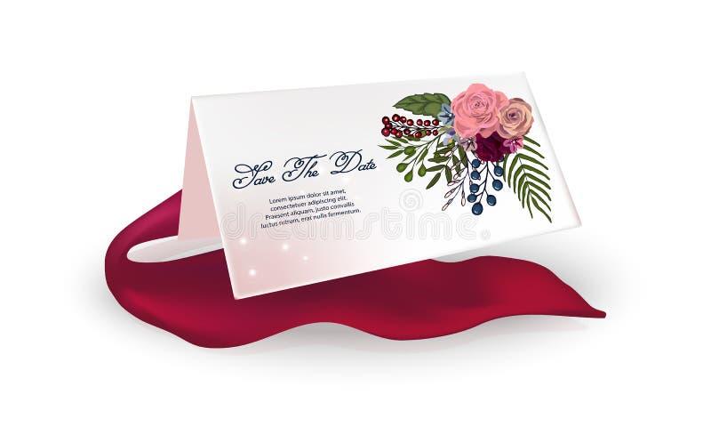 在白色背景的轻的卡片,红色丝带 与玫瑰,花的框架为生日,婚礼,情人节 向量例证