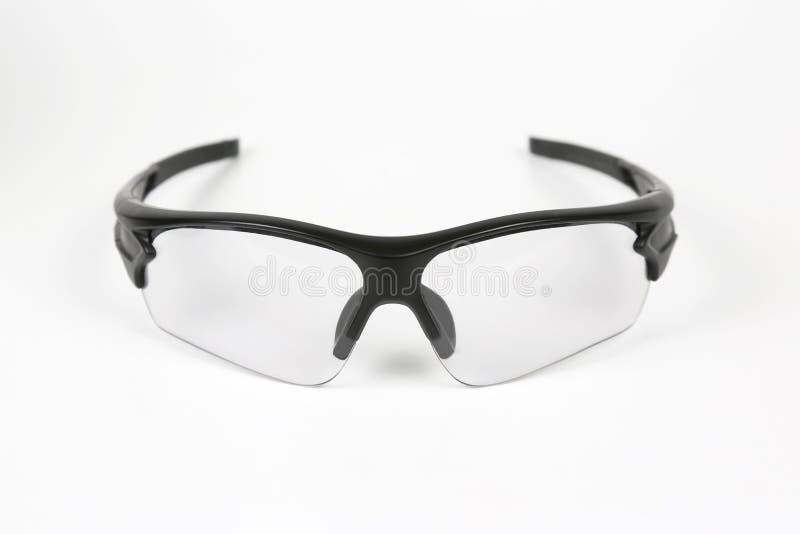 在白色背景的透明循环的太阳镜 免版税库存照片