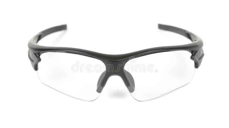 在白色背景的透明循环的太阳镜 免版税图库摄影
