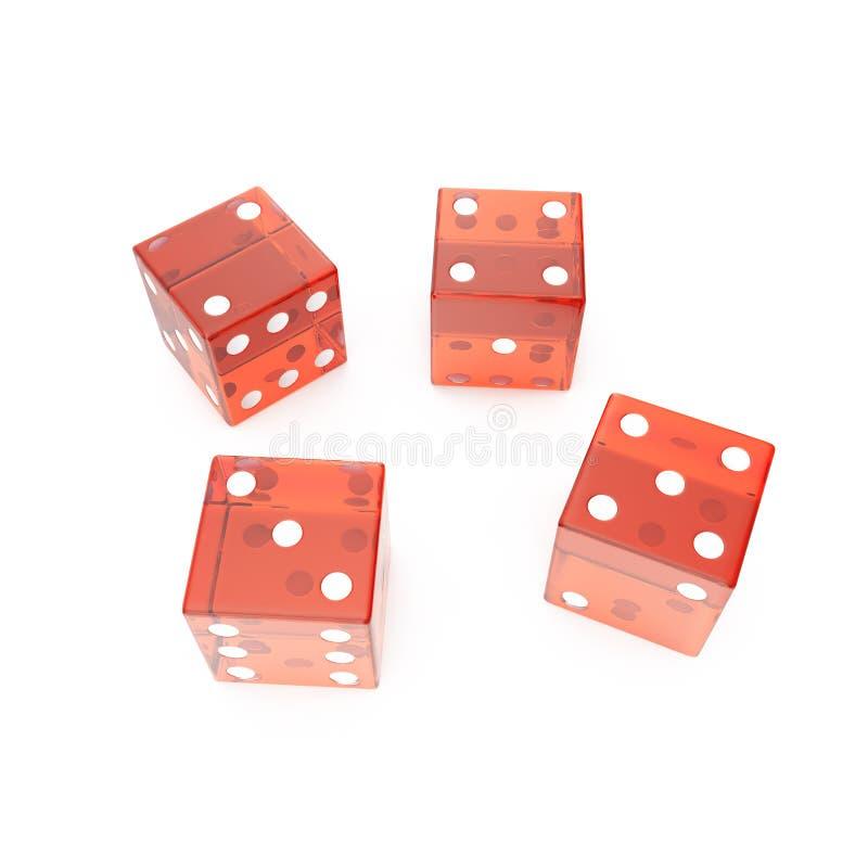 在白色背景的透明红色立方体,例如赌博的概念:赌博娱乐场,轮盘赌, 3d翻译 皇族释放例证