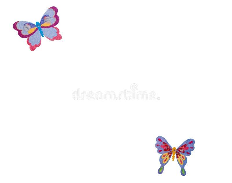 在白色背景的逗人喜爱的五颜六色的蝴蝶贴纸 库存图片