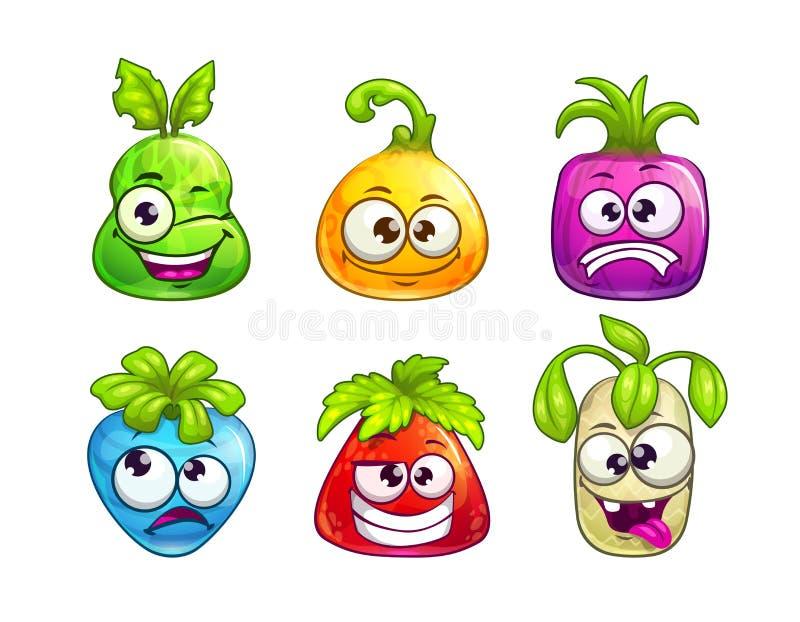 在白色背景的逗人喜爱的可笑的五颜六色的果子字符 皇族释放例证
