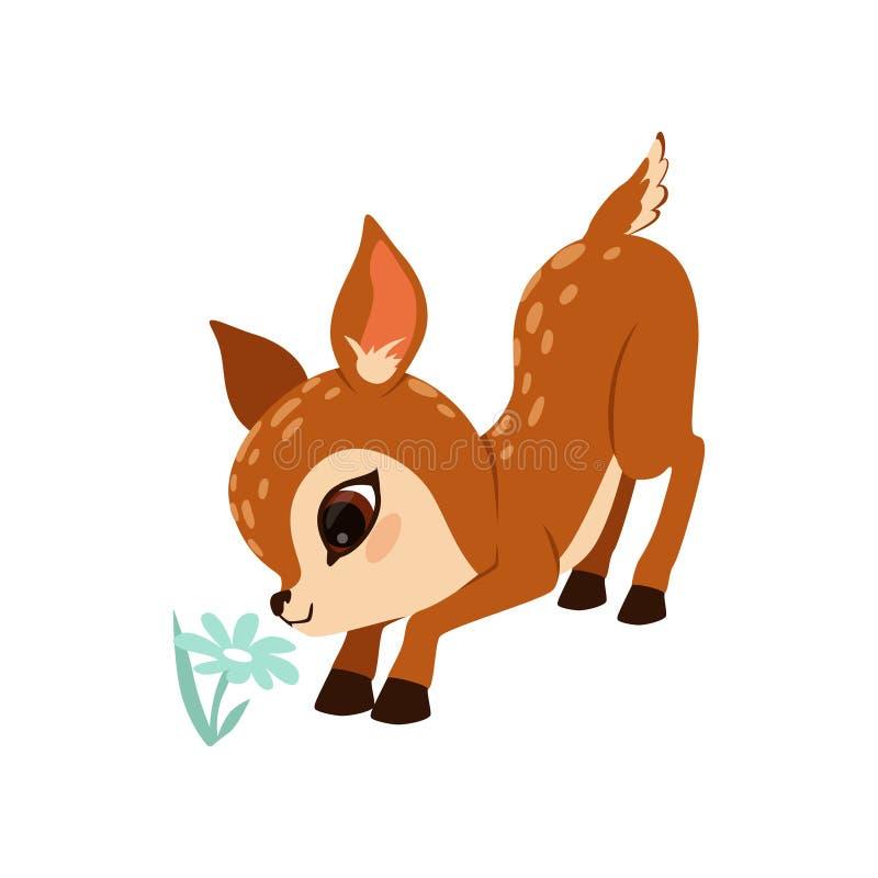 在白色背景的逗人喜爱的小的小鹿字符嗅花传染媒介例证 皇族释放例证