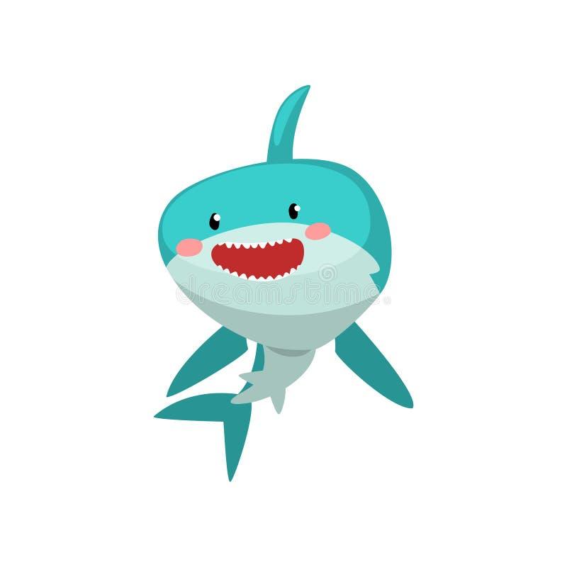 在白色背景的逗人喜爱的微笑的蓝鲨鱼漫画人物传染媒介例证 库存例证