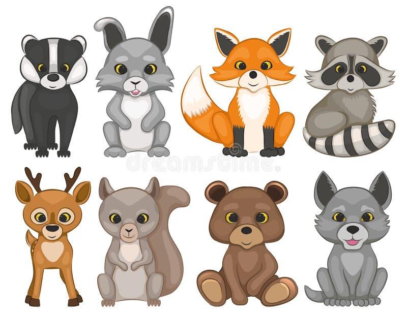 在白色背景的逗人喜爱的森林动物 套动画片森林地动物 库存例证