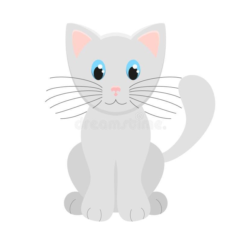 在白色背景的逗人喜爱的浅灰色的小猫传染媒介例证 向量例证