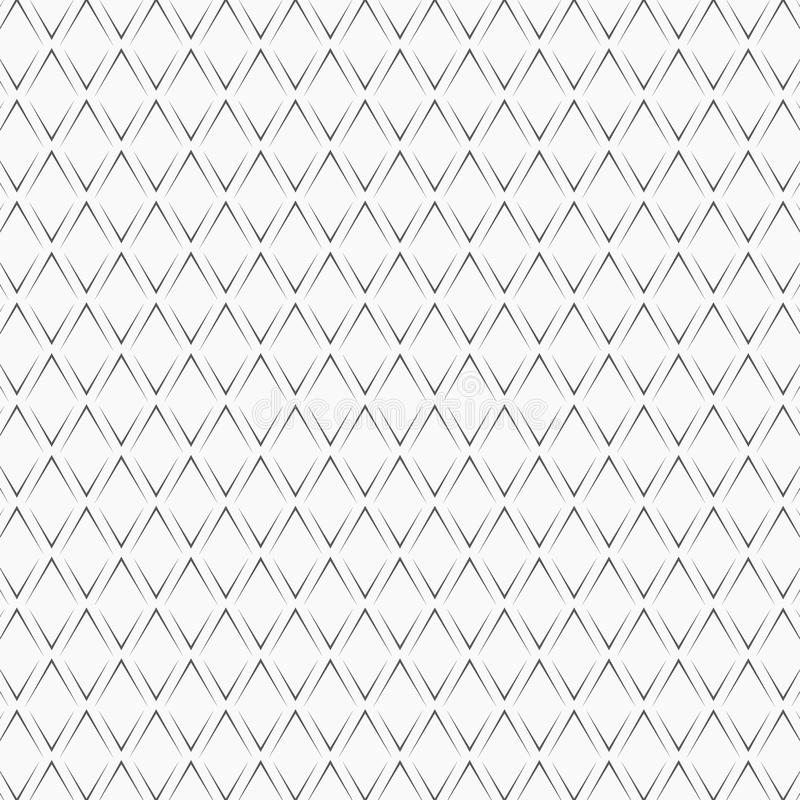 在白色背景的重复的黑角括号 无缝设计的模式 V形臂章抽象艺术品 曲线装饰品 皇族释放例证