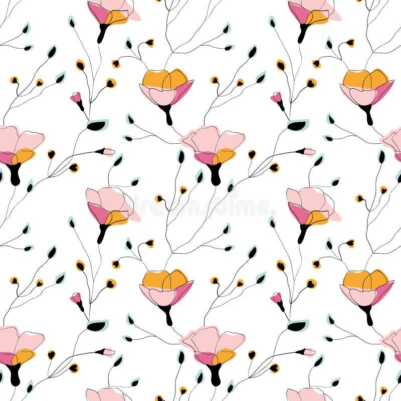 在白色背景的野花无缝的样式 皇族释放例证