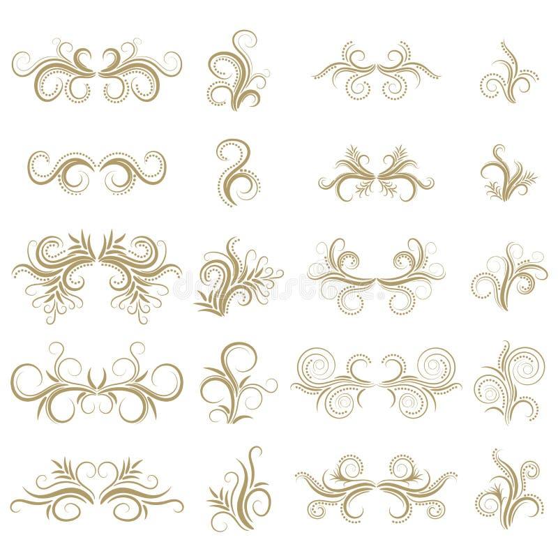 在白色背景的金子抽象卷曲设计元素集 分切器 漩涡 库存例证