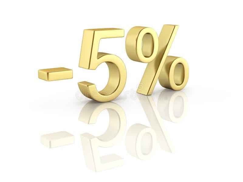 在白色背景的金文本5%与反射3D回报 皇族释放例证