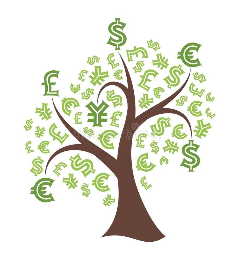 在白色背景的金钱树 向量例证