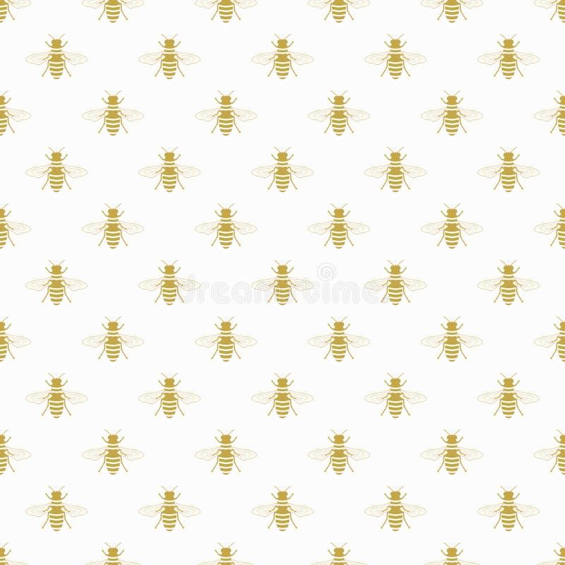 在白色背景的金黄飞行的蜂蜜蜂象样式 库存例证